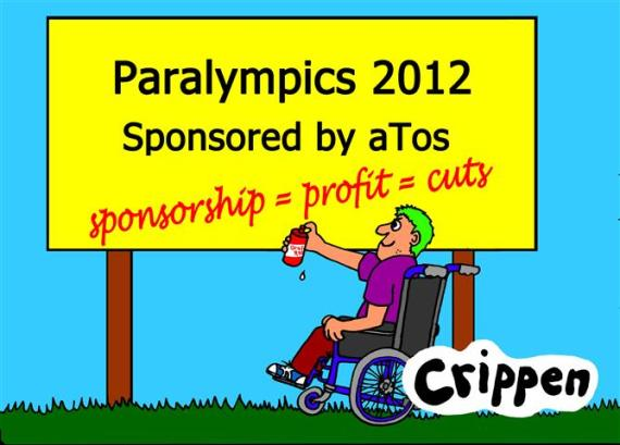 disabled guy adding graffiti to a 2012 Paralympic poster
