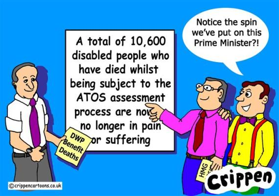Crippen's cartoon about the Tory spin on benefit deaths