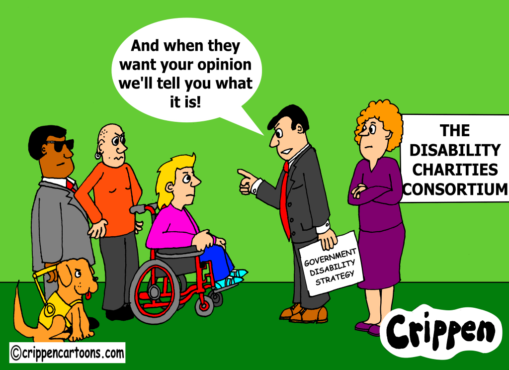 cartoon about government consultation with disabled people